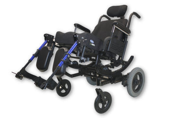 Quickie Iris Tilt-In-Space Manual Transport Wheelchair With Manual Leg Elevate