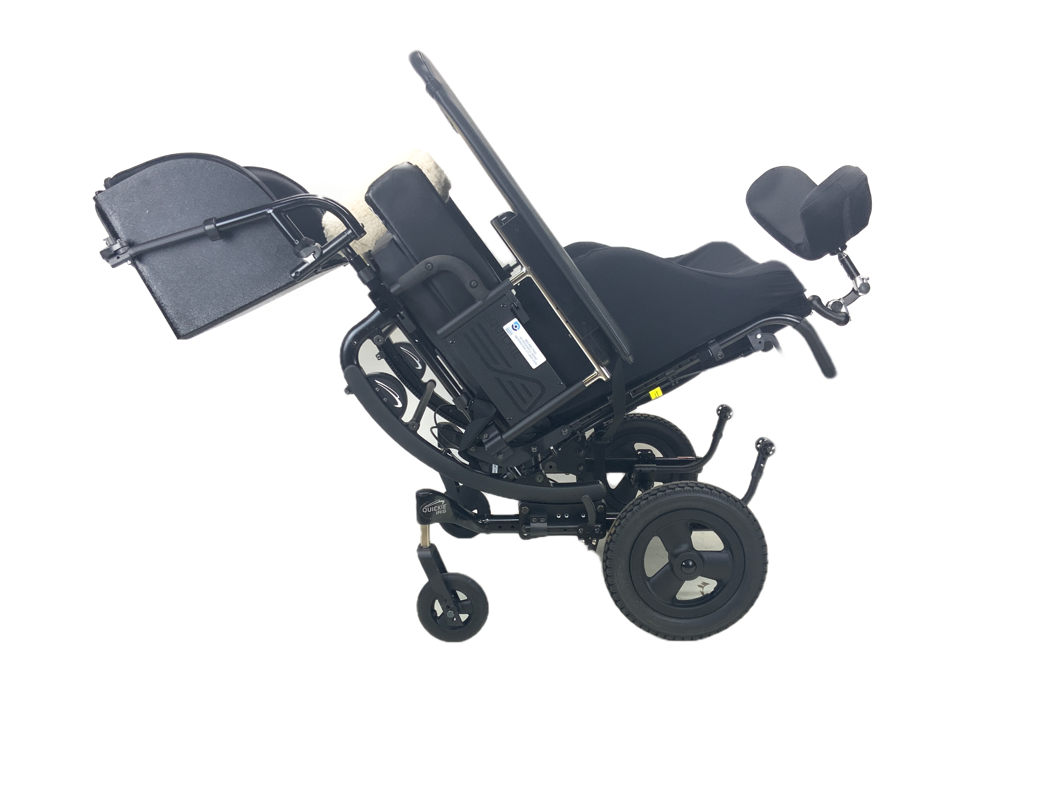New Quickie Iris Tilt-In-Space Manual Wheelchair | 18 x 18 Inches | Legbox, Thigh Supports, Abductor Pad, Removable Activity Tray