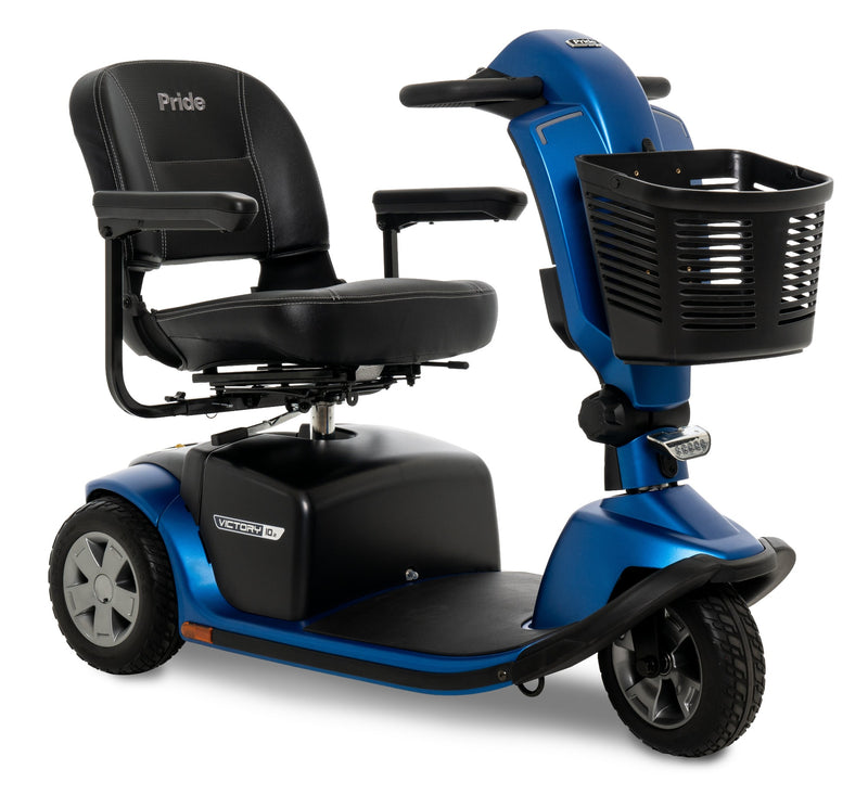 The Blue Pride Mobility Victory 10.2 3-Wheel Mobility Scooter