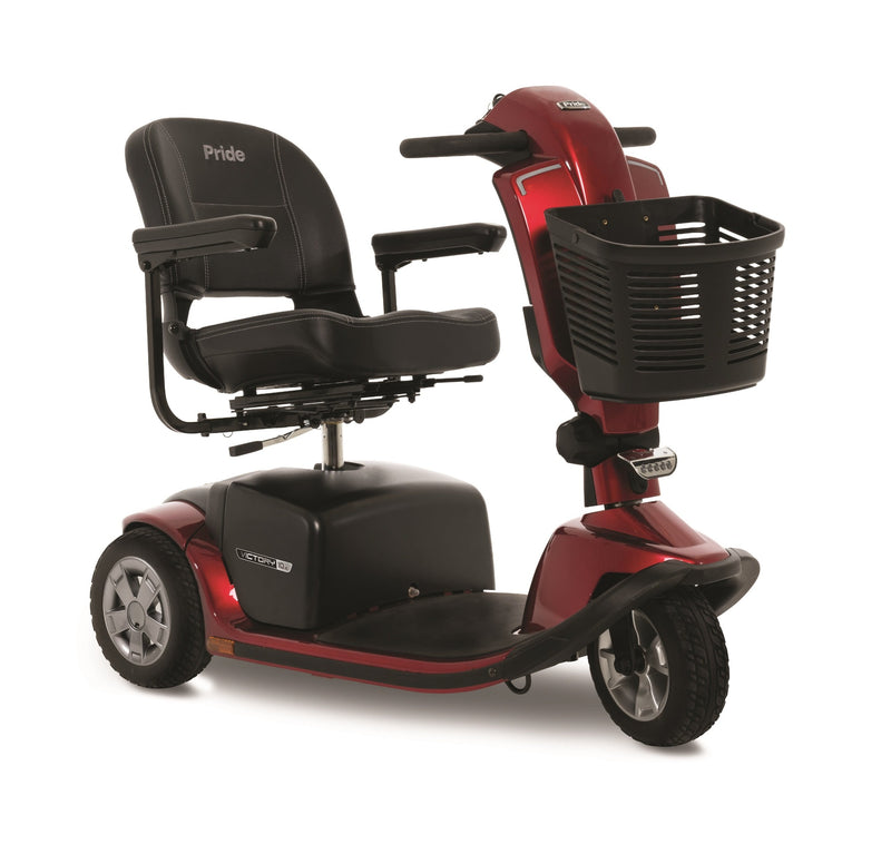 The Red Pride Mobility Victory 10.2 3-Wheel Mobility Scooter