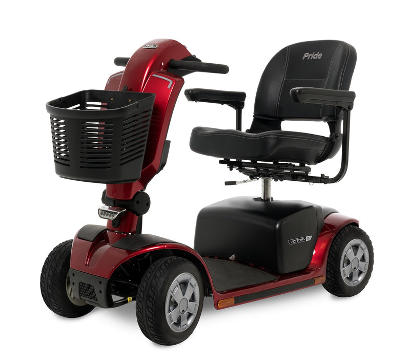 Other Corner view of the Red Pride Mobility Victory 10.2 4-Wheel Mobility Scooter