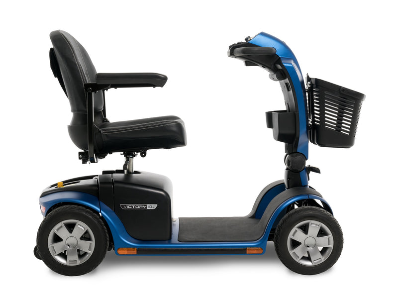 Side view of the Blue Pride Mobility Victory 10.2 4-Wheel Mobility Scooter