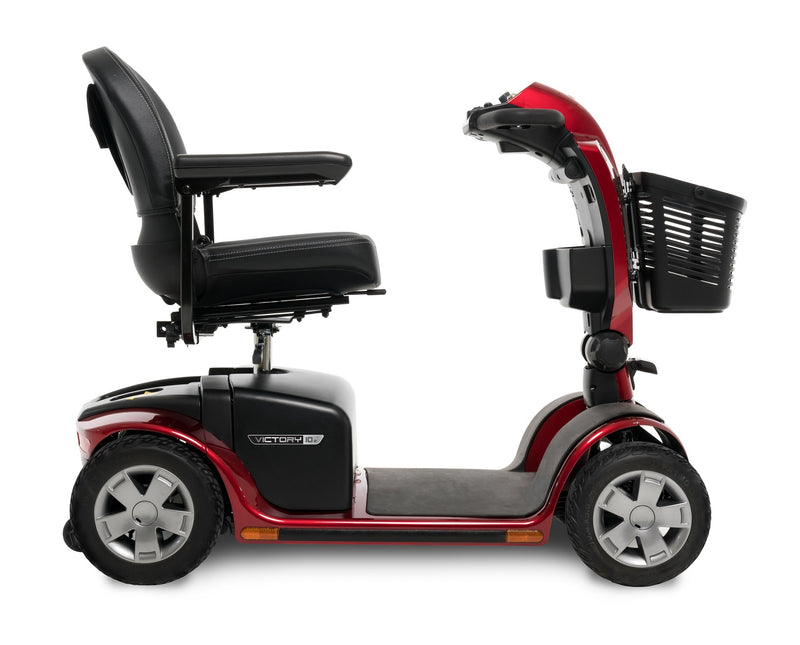 Side View of the Red Pride Mobility Victory 10.2 4-Wheel Mobility Scooter