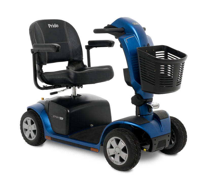 Corner view of the Blue Pride Mobility Victory 10.2 4-Wheel Mobility Scooter