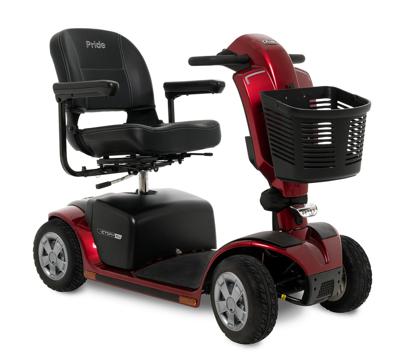 Corner view of the Red Pride Mobility Victory 10.2 4-Wheel Mobility Scooter