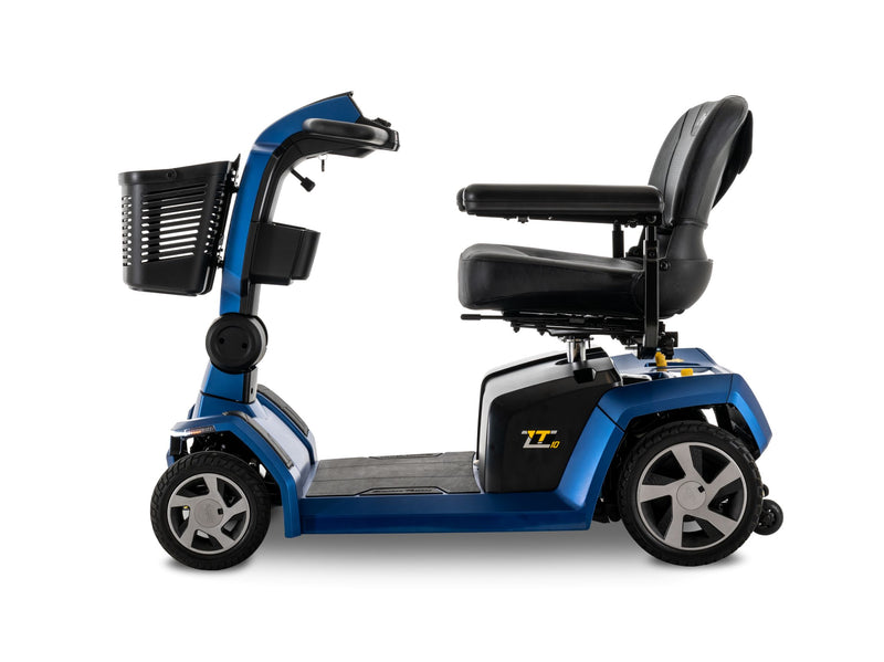 Side view of the Blue Pride Mobility Zero Turn 10 (ZT10) 4-Wheel Mobility Scooter