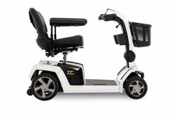Side view of the White Pride Mobility Zero Turn 10 (ZT10) 4-Wheel Mobility Scooter