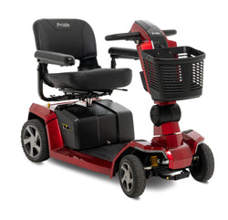 Corner view of the Red Pride Mobility Zero Turn 10 (ZT10) 4-Wheel Mobility Scooter