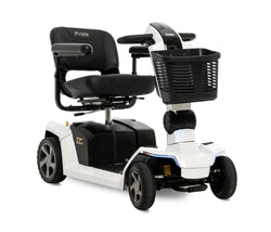Corner view of the White Pride Mobility Zero Turn 10 (ZT10) 4-Wheel Mobility Scooter