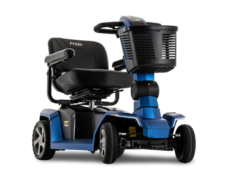 Corner view of the Blue Pride Mobility Zero Turn 10 (ZT10) 4-Wheel Mobility Scooter
