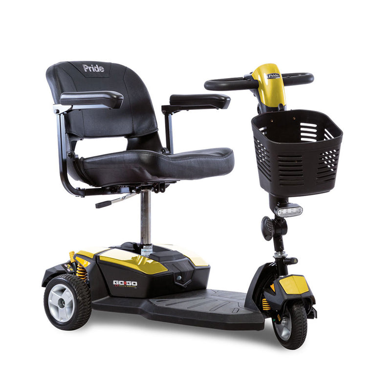 Yellow Go Go LX Pride Mobility 3-wheel Scooter
