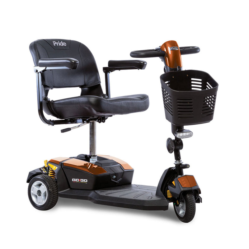 Orange Pride Mobility Go-Go LX 3-Wheel Mobility Scooter