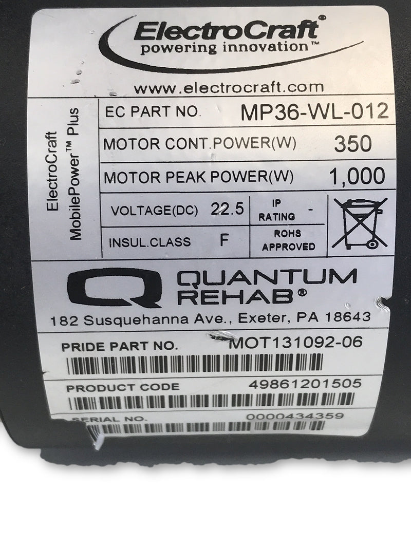 Pride Quantum Q6 Edge Right ElectroCraft Motor | MP36-WL-012 | MOT131092-06 - Power Chairs Test