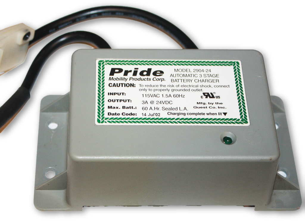 used on board battery charger | 2904-24 | pride mobility | for sale! –  mobility equipment for less