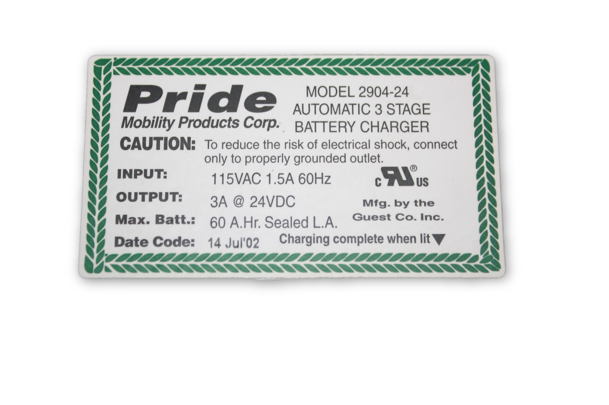 Used On Board Battery Charger | 2904-24 | Pride Mobility | For Sale Wiring Diagram V E Jazzy on