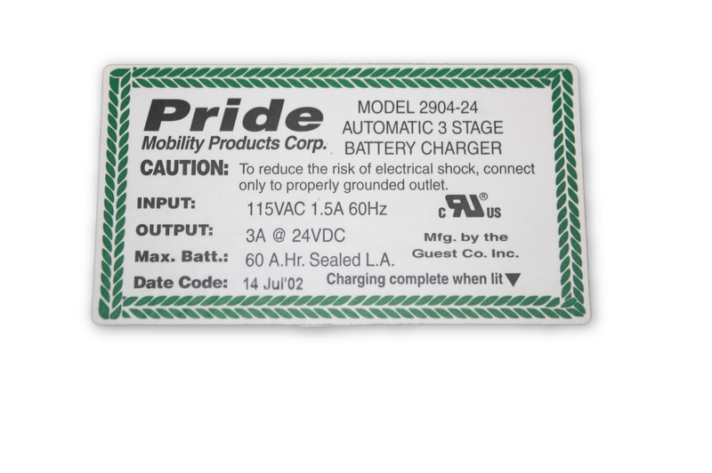 Pride Mobility Jazzy 1103 Power Chair On Board Battery Charger | 2904-24 - Power Chairs Test