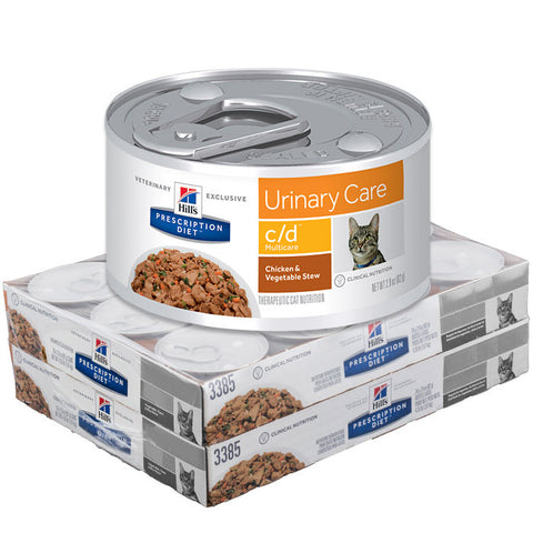 Hill's Feline C/D Multi-Care Cans Chicken and Vegetable Stew - Case