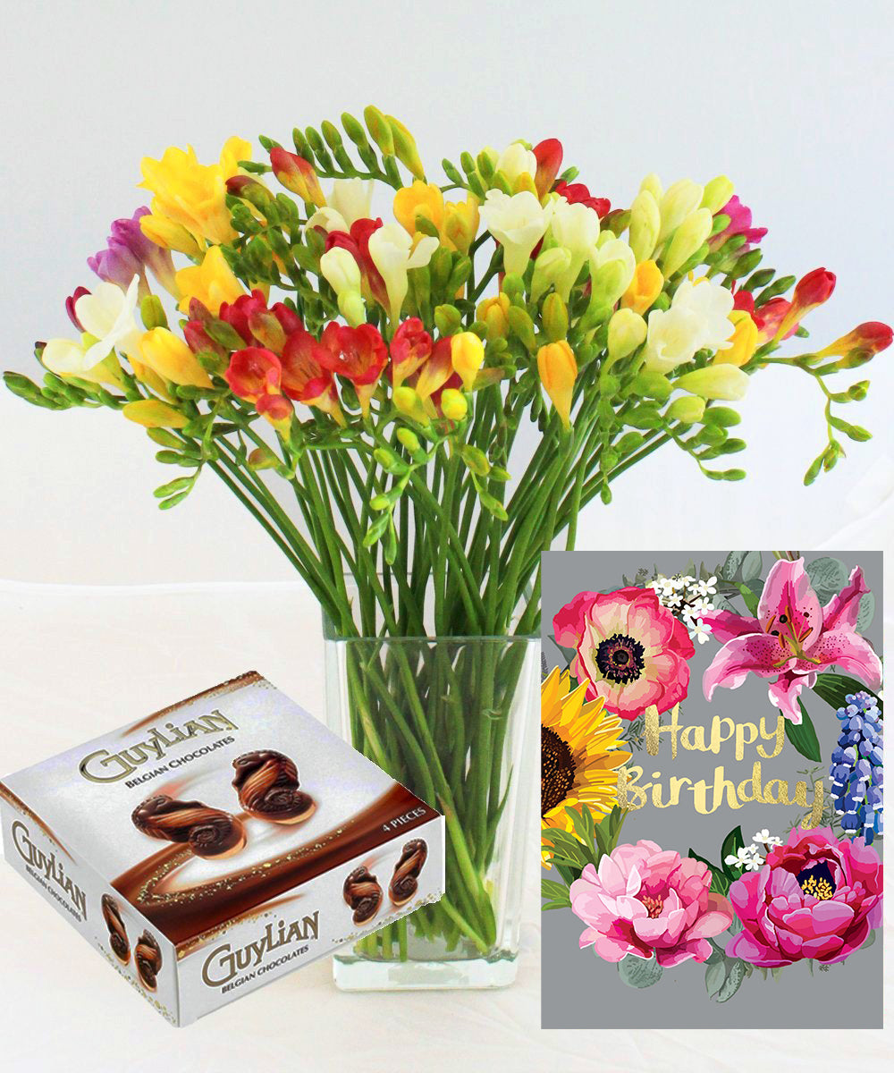Order Our Birthday Freesia Gift Online For UK Flower