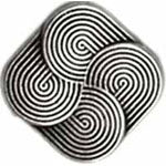 Silver Square w/ Swirl (4pk)- 12mm