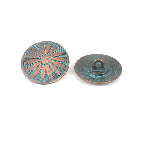 Antique Copper Turquoise Oval (2pk)- 25mm