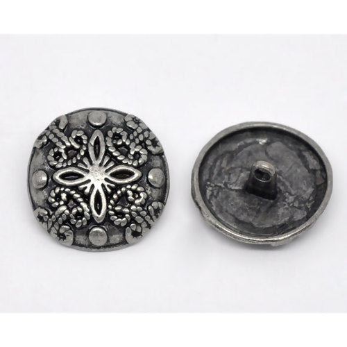 Antique Silver Dome Flower (2pk)- 23mm