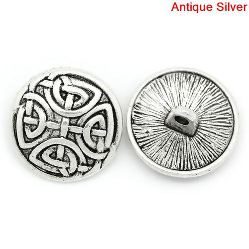 Antique Silver Knot Design (2pk)- 17mm