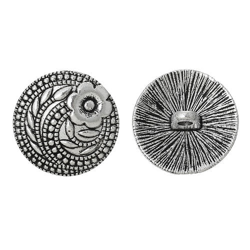 Silver Flower, Carved (4pk)- 17mm