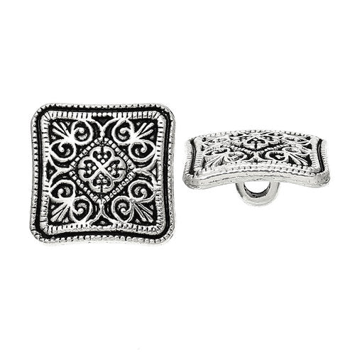 Silver Square Flower (4pk)- 13mm