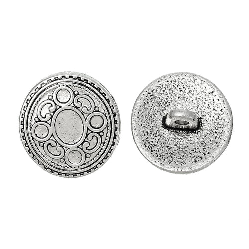 Silver Oval in Circle (4pk)- 17mm