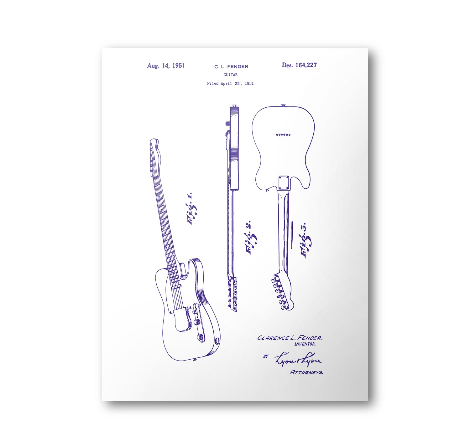 Fender Guitar Patent Poster | Guitar Patent Art | Blueprint Art | Patent Wall Art | Guitar Patent Print | Patent Art | Home Decor - National Park Life