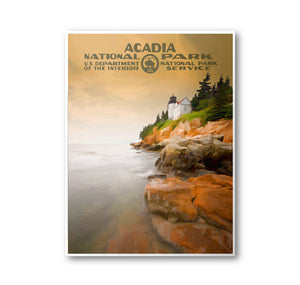 Acadia National Park Poster | National Park Postcard | National Park Art | WPA Poster | National Park Print