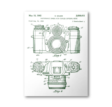 Camera Patent Poster | 1962 Camera Patent Art | Blueprint | Patent Print No. 3,034,411 - National Park Life