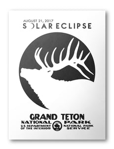 Grand Teton National Park Solar Eclipse 2017 Poster (White) - National Park Life