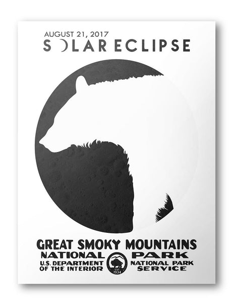 Great Smoky Mountains National Park Solar Eclipse 2017 Poster (White) - National Park Life