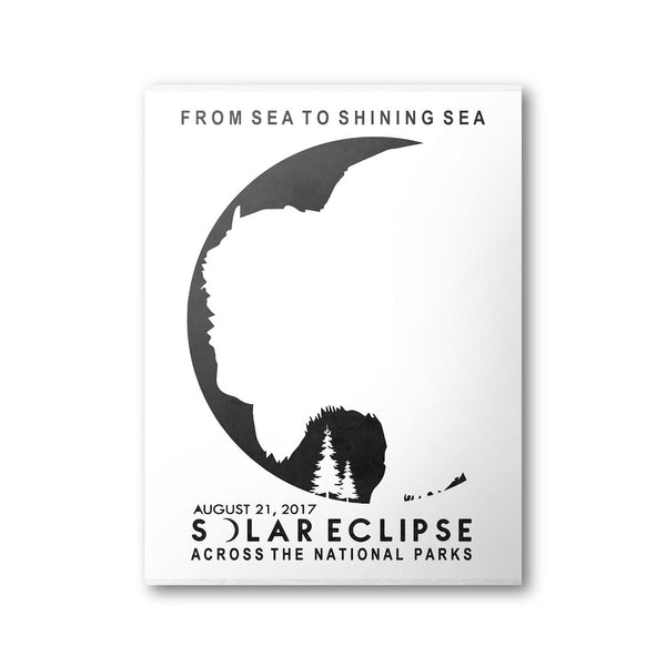 Great American Solar Eclipse 2017 National Park Poster (White) - National Park Life