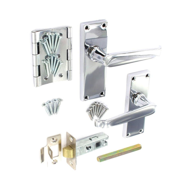 Securit Door Furniture Pack - Flat Lever Latch - Mortise Latch - Hinges - Chrome Plated