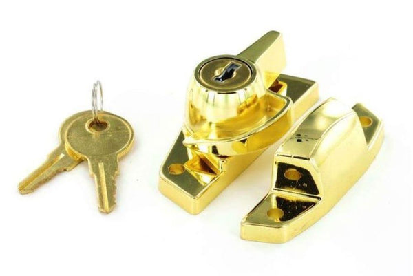 Securit - Sash Window Fastener With Lock - Brass Plated