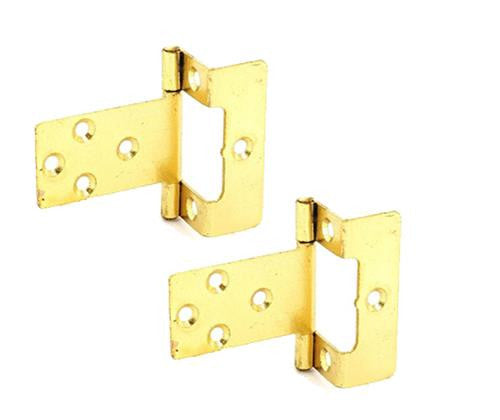 "Flush Hinge - 50mm - 5/8"" Cranked - Brass Plated"