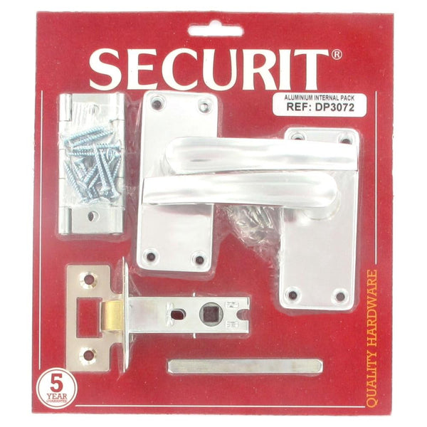 Securit Door Furniture Pack - Straight Lever Latch - Mortise Latch - Polished Aluminium