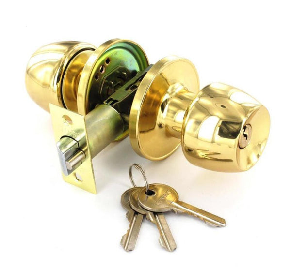 Securit Entrance Door Knob set - Lock - Brass.