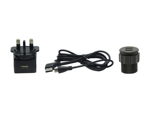 In-desk USB Charger - Black - 35mm
