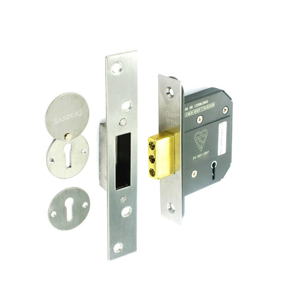 Securit 5 Lever Mortice Dead Lock - Nickel Plated