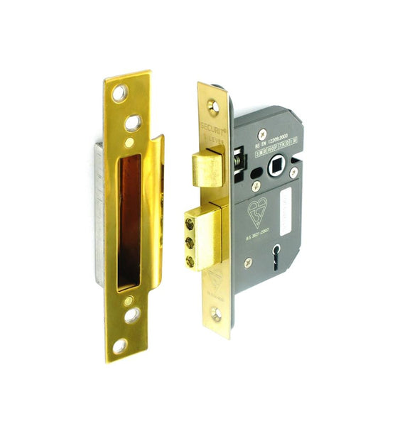 Securit 5 Lever Mortice Sash Lock - Brass