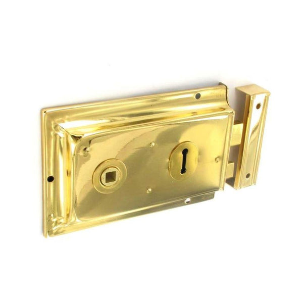 Double Handed Rim Lock - 150mm - Brass Plated