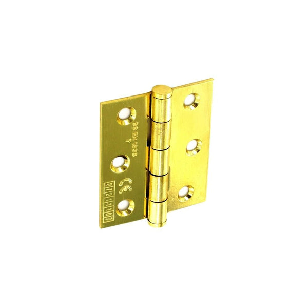 CE Grade Steel Butt Hinge - 75mm - Polished Brass Plated.
