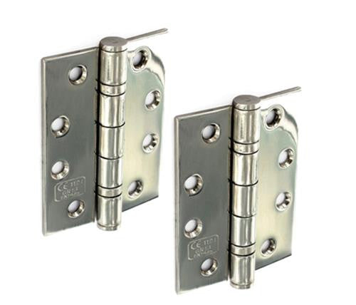 Double Ball 304 S/S CE Butt Hinge H100 x W75 x T2mm Satin - Eurofit Direct
