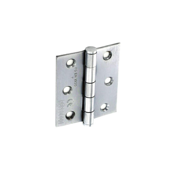 CE Grade Steel Butt Hinge - 75mm - Satin Chrome Plated