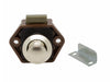 Mini Push Button Pearl Nickel Door Catch With Brown Body