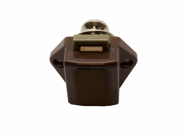 Mini Push Button Pearl Nickel Door Catch With Brown Plated Body