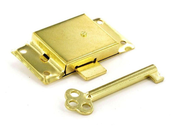 Cupboard Door Lock - 63mm Width - Brass with 2 Keys - Eurofit Direct